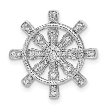 14k White Gold 1/5ct. Diamond Ship Wheel Pendant