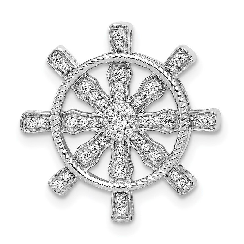 Quality Gold 14k White Gold 1/5ct. Diamond Ship Wheel Pendant