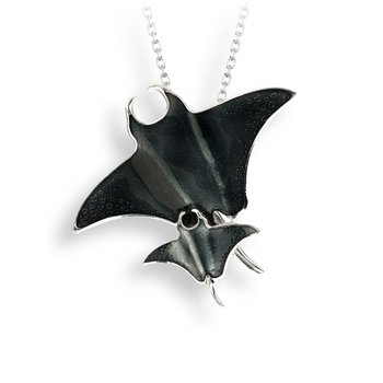 Gray Manta Ray Necklace.Sterling Silver