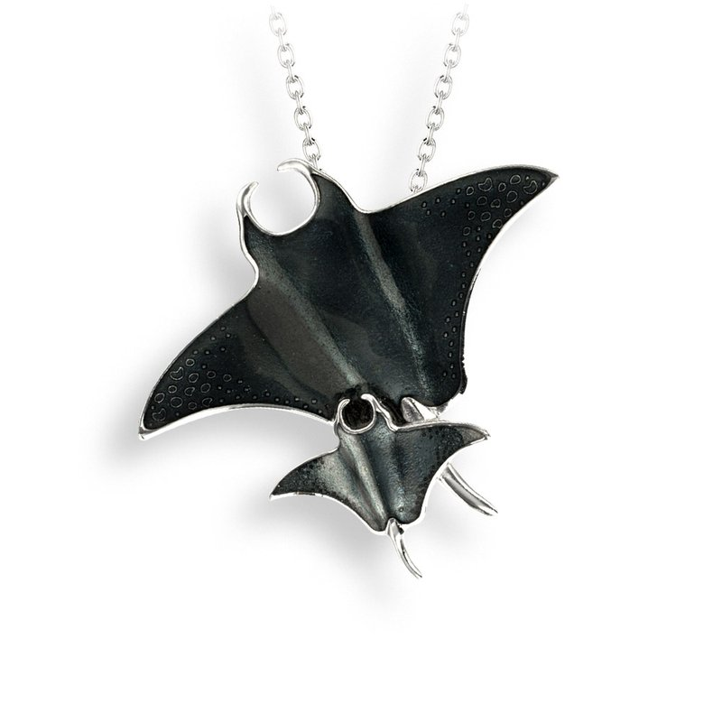 Nicole Barr Designs Gray Manta Ray Necklace.Sterling Silver