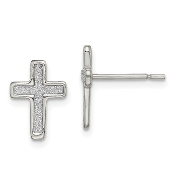 Sterling Silver Glitter Infused Cross Post Earrings