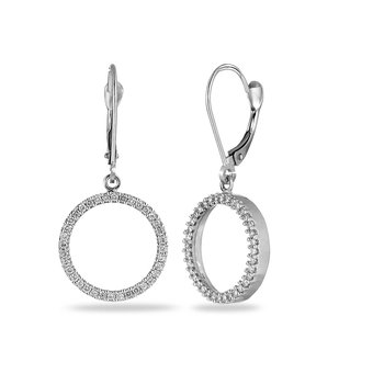14K WG Diamond Circle Earring