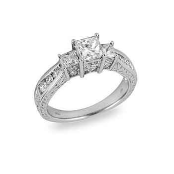 14K WG Engagement Ring with CZ Princess Center