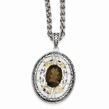 Sterling Silver w/14k Smoky Quartz & Diamond Necklace