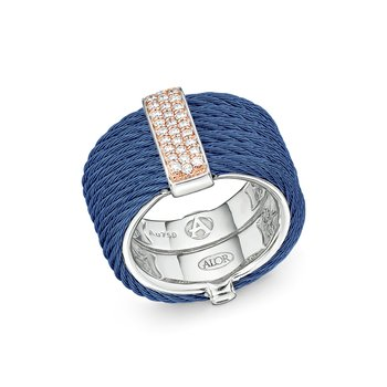 Blueberry Cable Monochrome Ring with 18kt Rose Gold & Diamonds