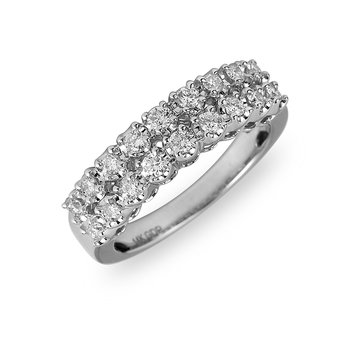 14K WG Diamond Two Row Ring