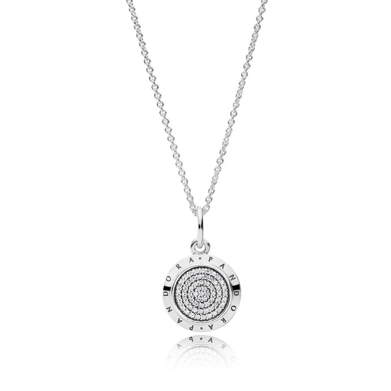 673070de7 PANDORA Pandora Signature Pendant Necklace, Clear Cz. Stock # 390375CZ-70