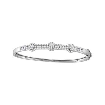 14kt White Gold Womens Round Diamond Flower Cluster Bangle Bracelet 1-3/4 Cttw