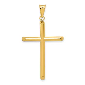 14k 3-D Polished Hollow Cross Pendant
