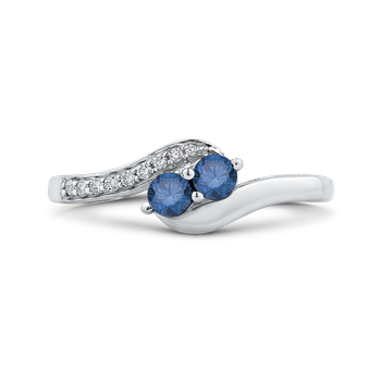 10K White Gold 1/4 Ct Blue and White Diamond Fashion Ring