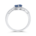 Essentials 10K White Gold 1/4 Ct Blue and White Diamond Fashion Ring