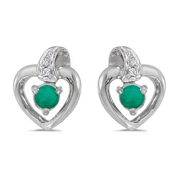 10k White Gold Round Emerald And Diamond Heart Earrings