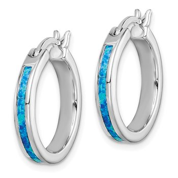 Sterling Silver Created Blue Opal Inlay Hoop Earrings