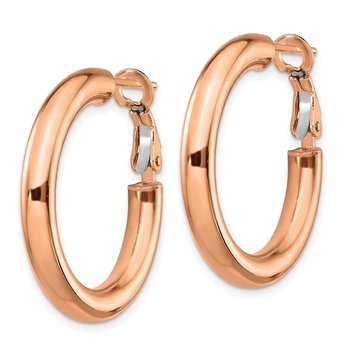 14k Rose Gold 4x20mm Polished Round Omega Back Hoop Earrings