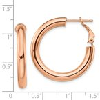 Quality Gold 14k Rose Gold 4x20mm Polished Round Omega Back Hoop Earrings