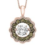 Necker's Signature Collection 14K Brown & White Diamond Rhythm Of Love Pendant 3/8 ctw