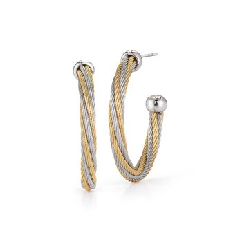 Grey & Yellow Twisted Cable Hoop Earrings with 18kt White Gold