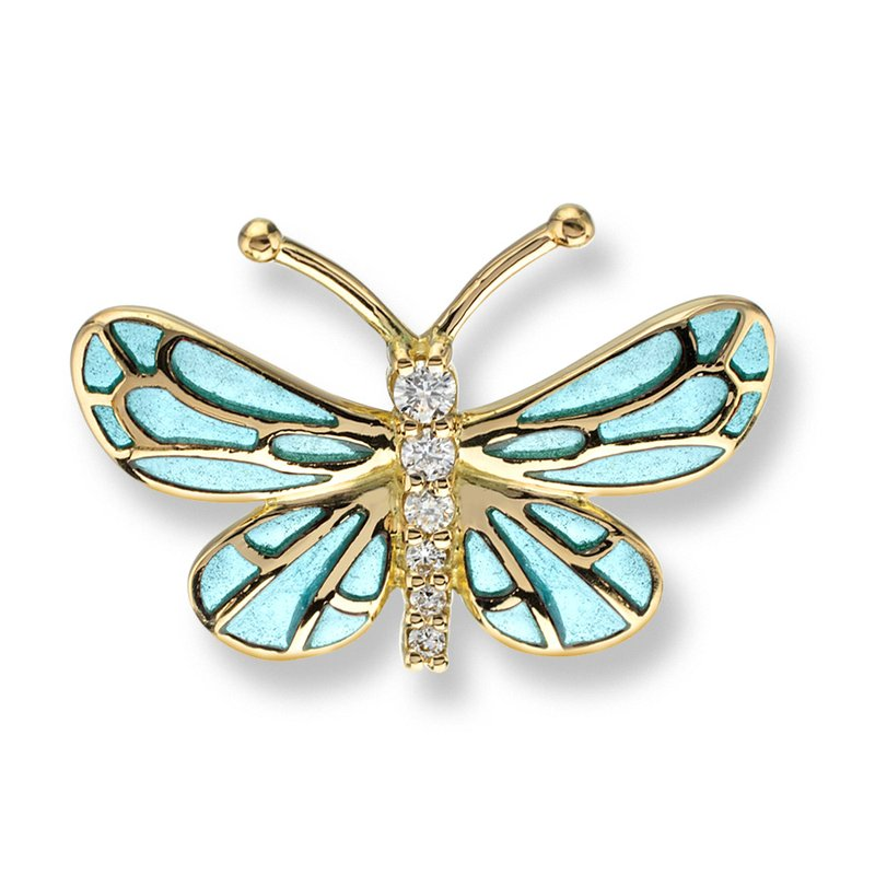 Nicole Barr Designs Turquoise Butterfly Lapel Pin.18K -Diamonds - Plique-a-Jour