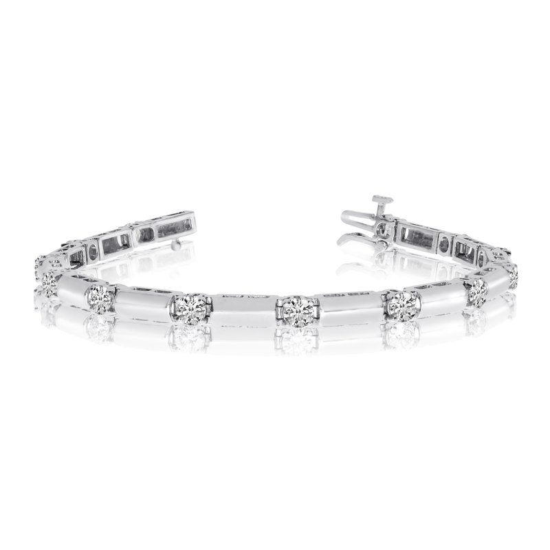 14k White Gold 3Ct. Diamond Bar Bracelet