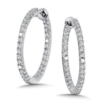 Locking Round Reflection Diamond Hoops in 14K White Gold with Platinum Post