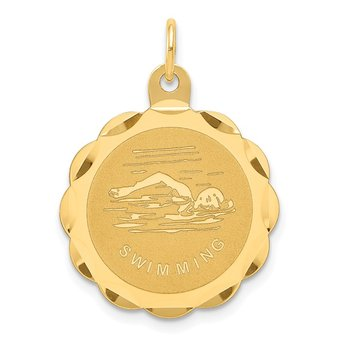 14k Swimming Disc Charm