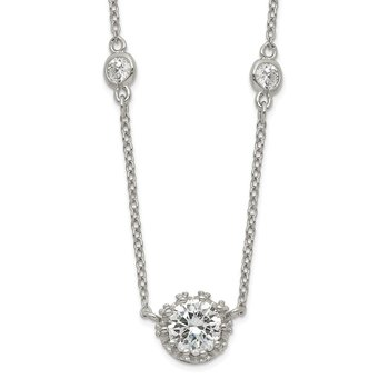Sterling Silver Round CZ Pendant w/2in. ext. 4-Station Necklace