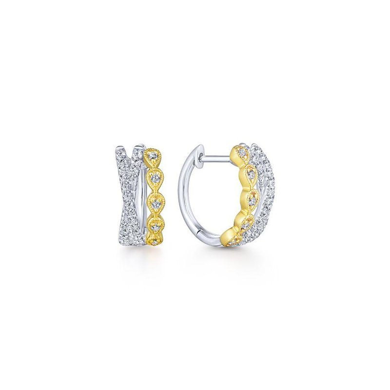 Amavida 14K Yellow-White Gold Criss Cross 10mm Diamond Huggie Earrings