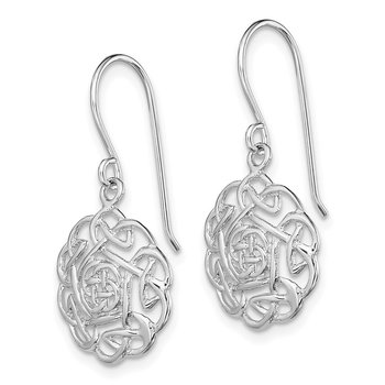 Sterling Silver RH-plated Polished Celtic Shepherd Hook Earrings