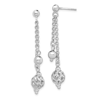 Sterling Silver Rhodium-plated Beaded Post Dangle Earrings
