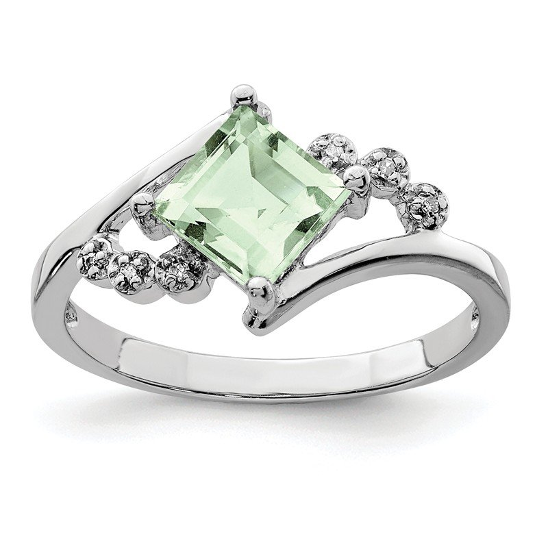 Quality Gold Sterling Silver Rhodium Princess-cut Green Quartz & Diamond Ring