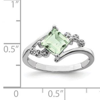 Sterling Silver Rhodium Princess-cut Green Quartz & Diamond Ring