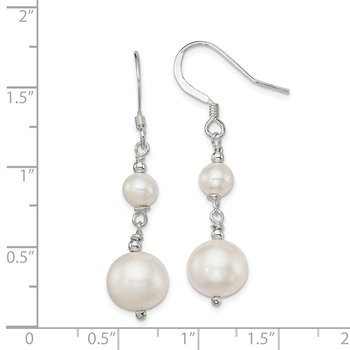 Sterling Silver Polished Freshwater Cultured Pearl Dangle Earrings