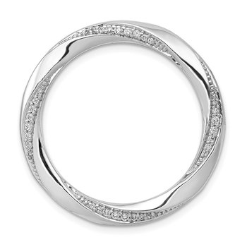 14k White Gold 1/5ct. Diamond Fancy Twist Circle Chain Slide