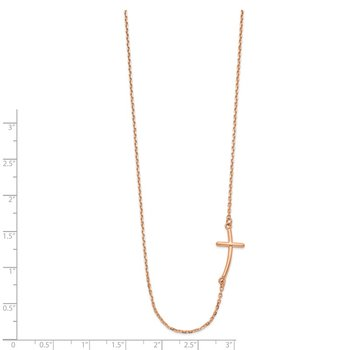 14k Rose Gold Small Sideways Curved Cross Necklace