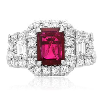 Emerald Cut Ruby & Diamond Halo Ring