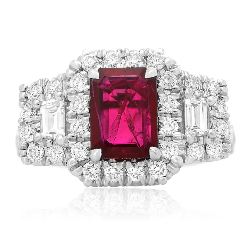 Roman & Jules Emerald Cut Ruby & Diamond Halo Ring
