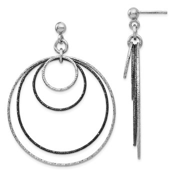Leslie's SS and Ruthenium Plated Diamond-cut Post Hoop Earrings