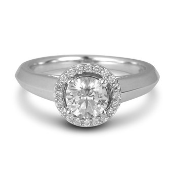 14K WG Diamond Engagement Ring (Center CZ)