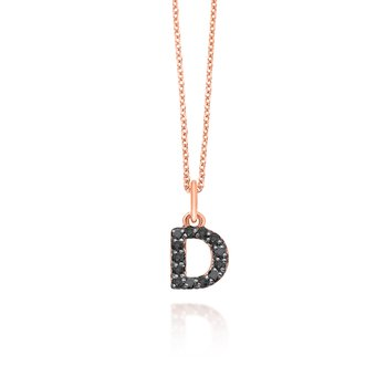 "Black Diamond Baby Block Initial ""D"" Necklace"