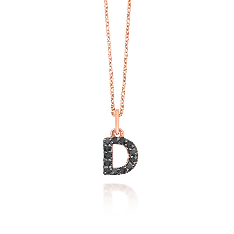 "KC Designs Black Diamond Baby Block Initial ""D"" Necklace"