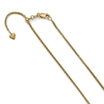 Leslie's 14K Adjustable 1.3mm D/C Wheat Chain