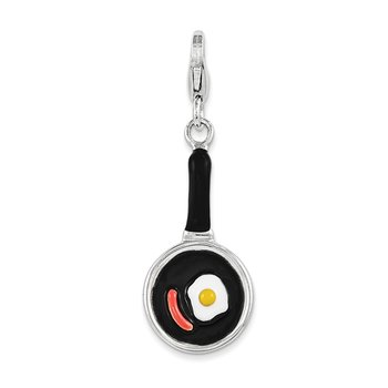 Sterling Silver Enamel Frying Pan w/ Food w/ Lobster Clasp Charm