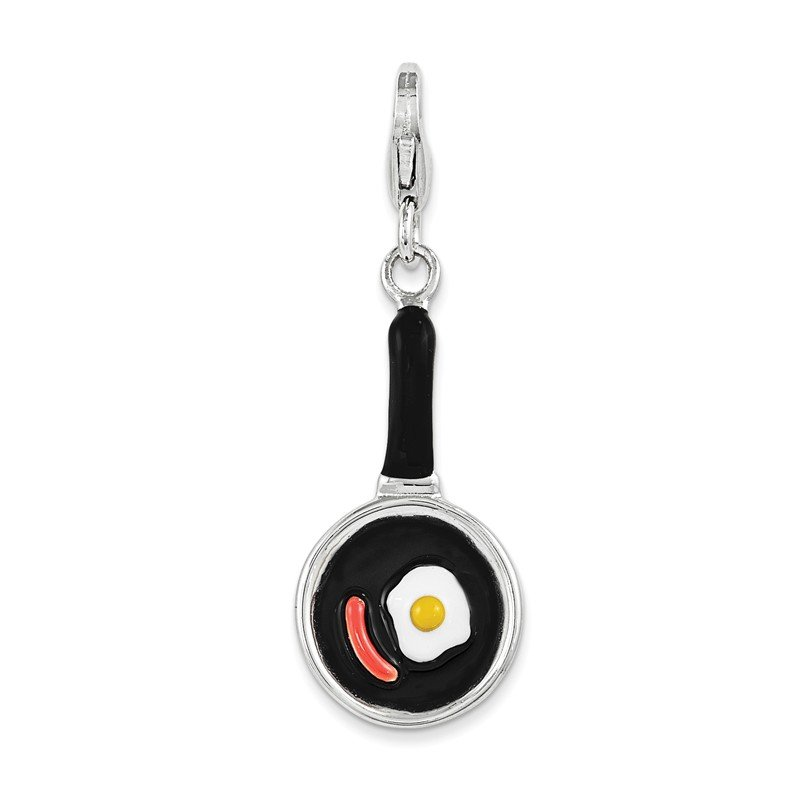 Quality Gold Sterling Silver RH w/ Lobster Clasp Enamel Frying Pan w/ Food Charm