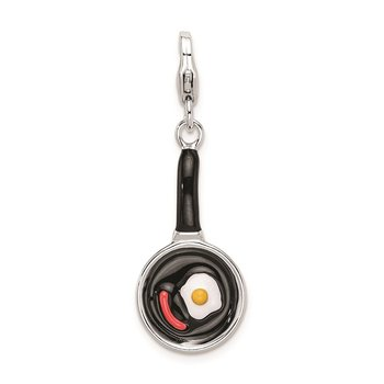 Sterling Silver Amore La Vita Rhod-pl Enameled Frying Pan Food Charm