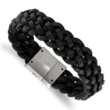 Stainless Steel Brushed Black Leather Braided 8.5in Bracelet