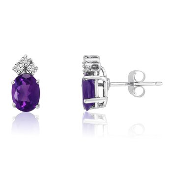 14k White Gold Oval Amethyst Earrings with Diamonds