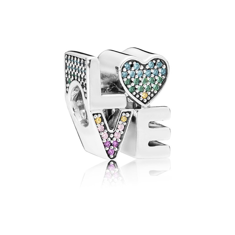 PANDORA Multi-Colour Love Charm, Multi-Coloured Cz