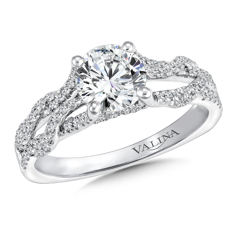 Valina Bridals Mounting with side stones .35 ct. tw., 1 ct. round center.