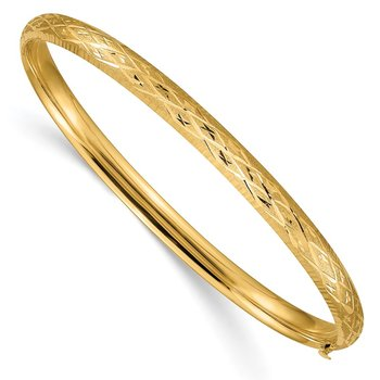 14k 3/16 Diamond-cut Fancy Hinged Bangle Bracelet