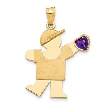 14k Boy with CZ February Birthstone Charm